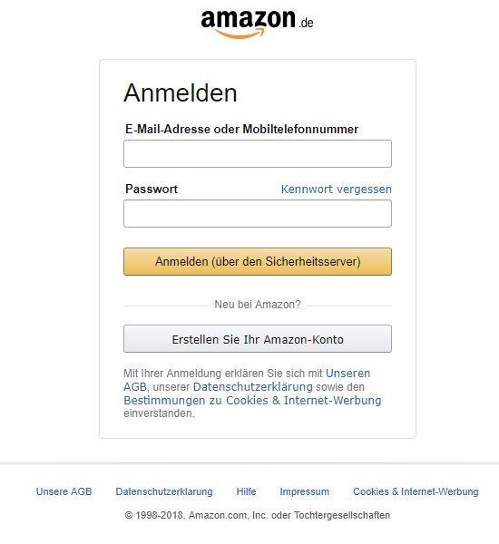 Amazon Fake Login
